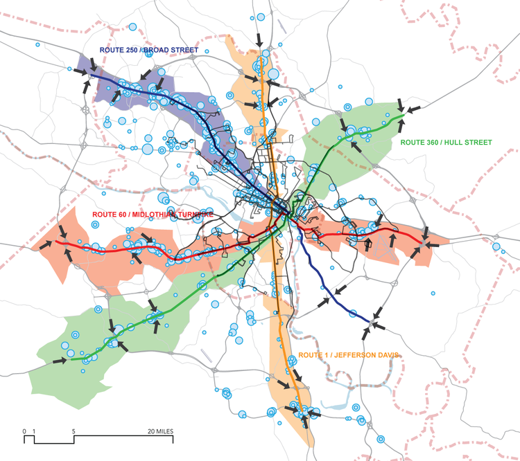 A proposed rapid transit system in the Richmond region